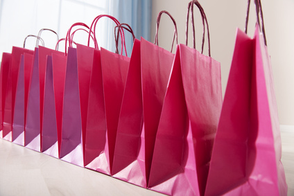 pink shopping bags